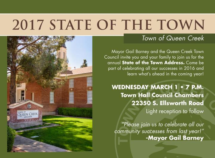 The Town of Queen Creek to Host the State of the Town on March 1