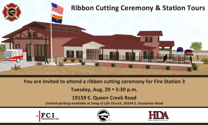 Join Queen Creek Fire & Medical for the Ribbon Cutting Ceremony and Tours of the New Fire Station 3