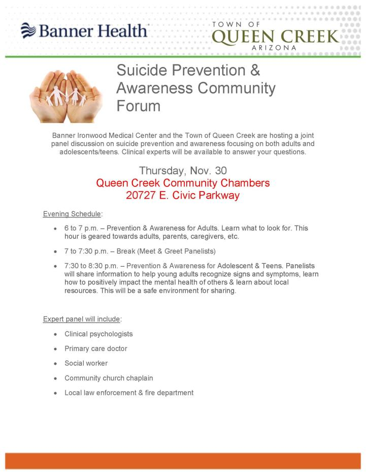 Suicide Prevention & Awareness Community Forum Flyer
