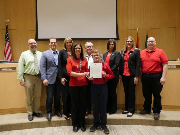 Council with American Heart Association Volunteers for Go Red for Women Month Proclamation 2/7