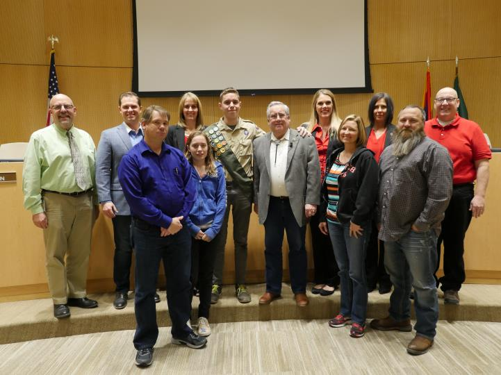 Council with Jayden Clement for Eagle Scout Recognition on 2/7