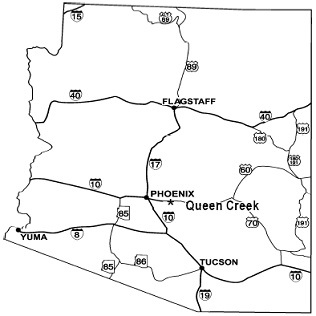 State map highlighting Queen Creek's location