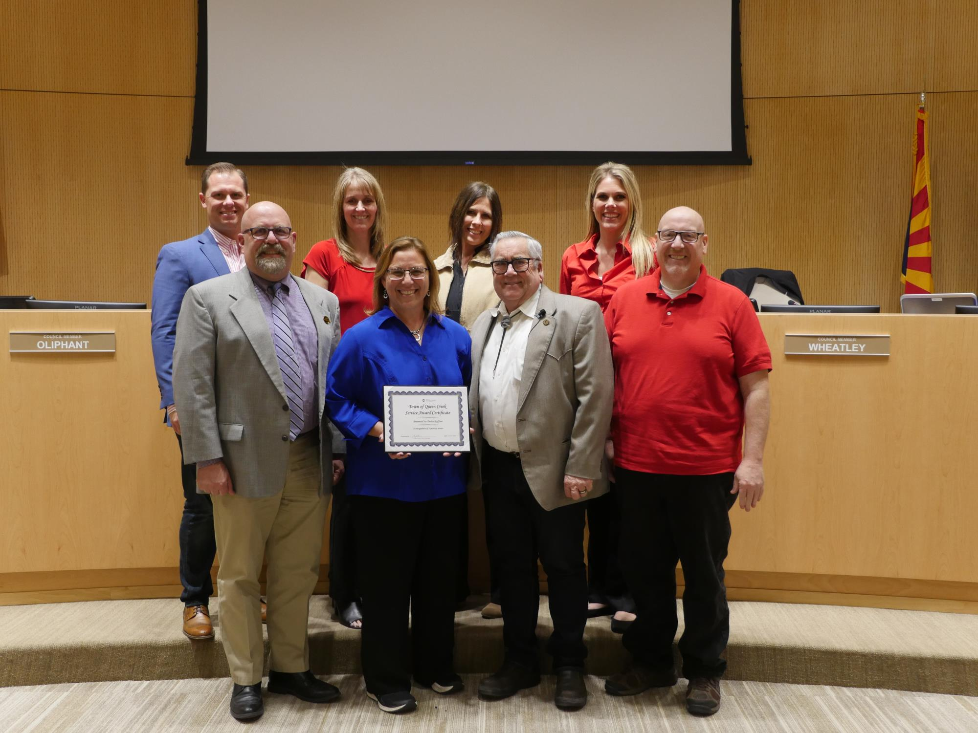 Mayor Barney and the Town Council with Debra Kuffner at the February 6 Town Council Meeting