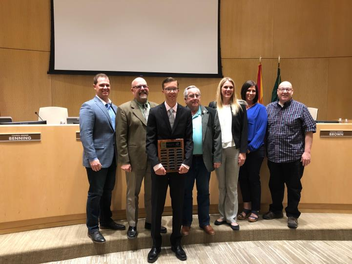 The Town Council with the East Valley Boys and Girls Clubs Youth of the Year Tyler Ruof at the Town Council Meeting on 3/7