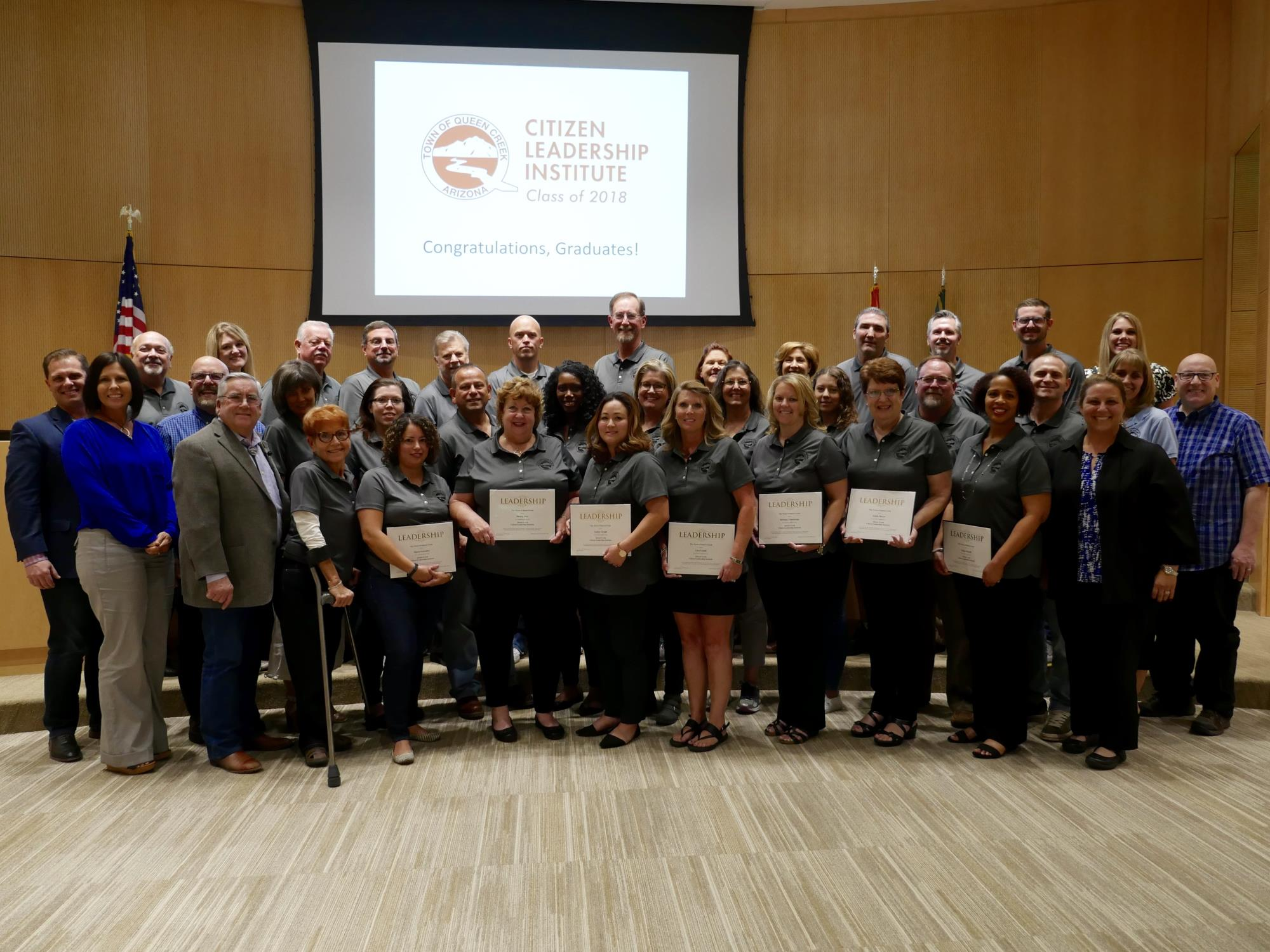 Mayor Barney and the Town Council with the Queen Creek 2018 CLI Graduating Class at the May 16 Town Council Meeting