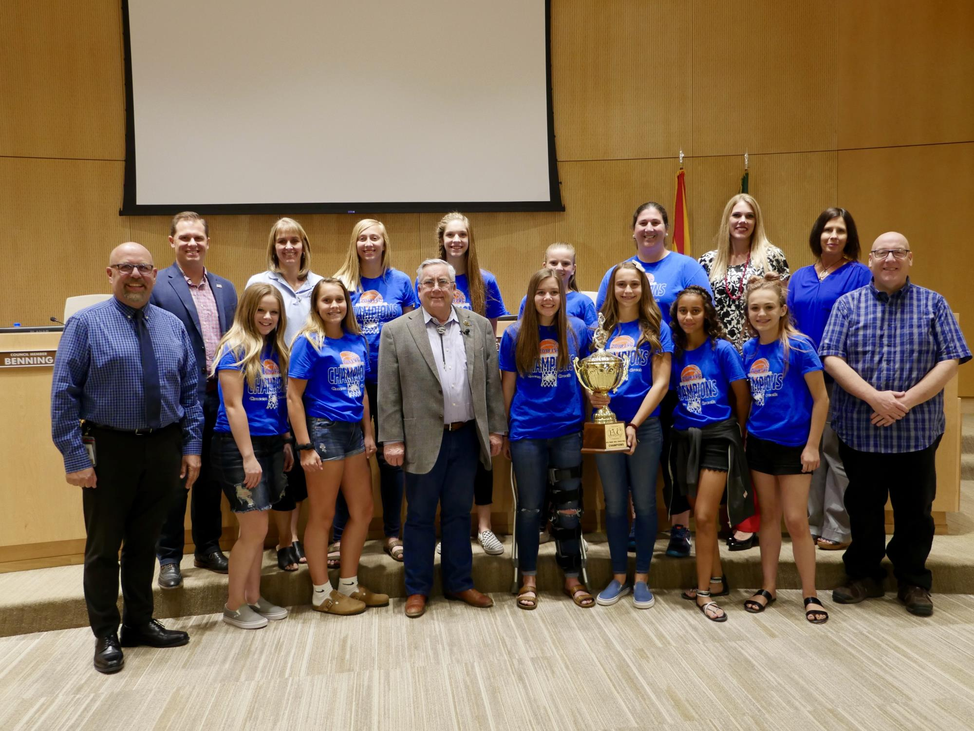 Mayor Barney and the Town Council with the Queen Creek Middle School 8th Grade Women's State Champion Basketball Team at the May 16 Town Council Meeting