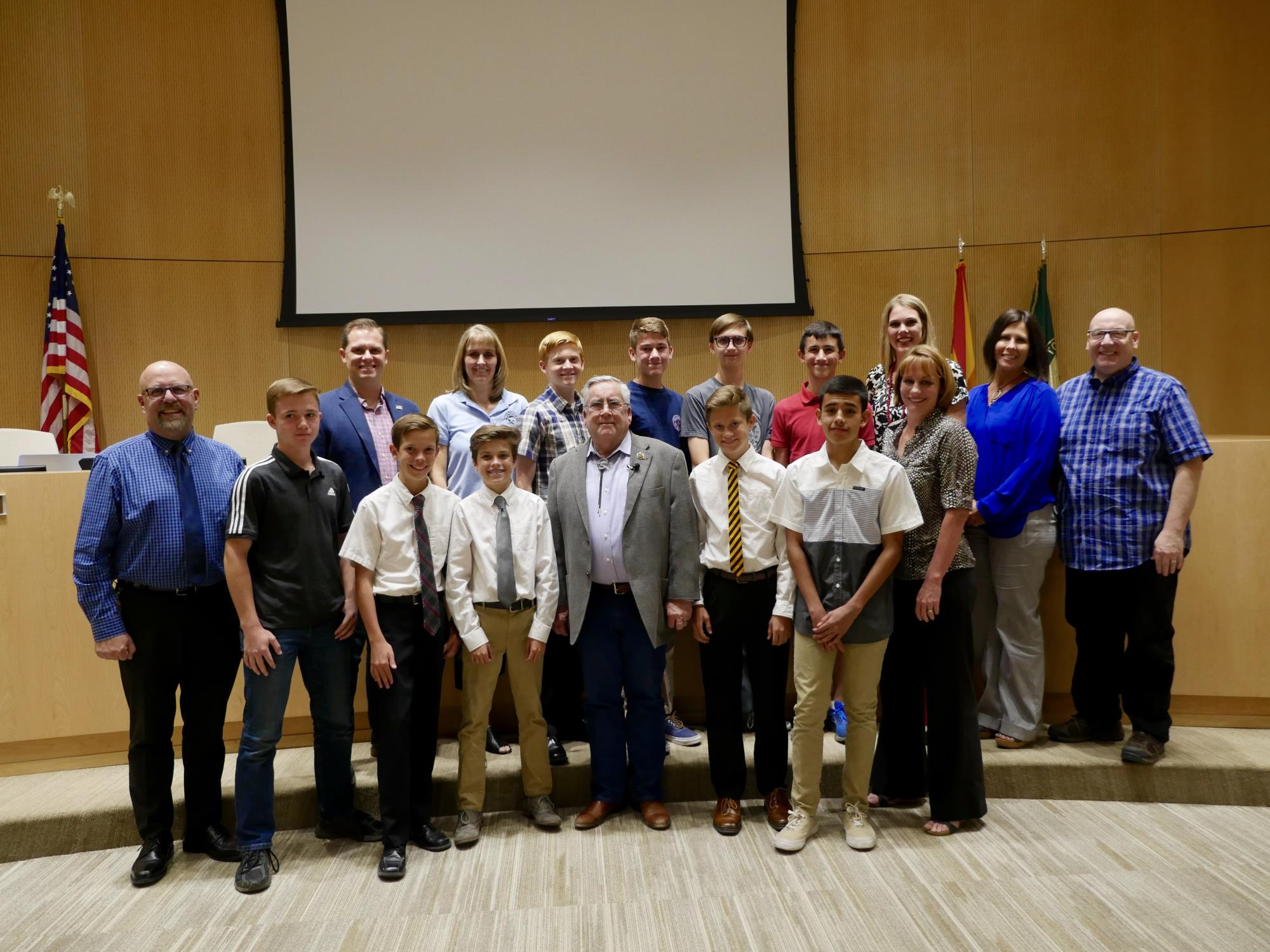 Mayor Barney and the Town Council with the Heritage Academy State Champion Men's Track Team at the May 16 Town Council Meeting