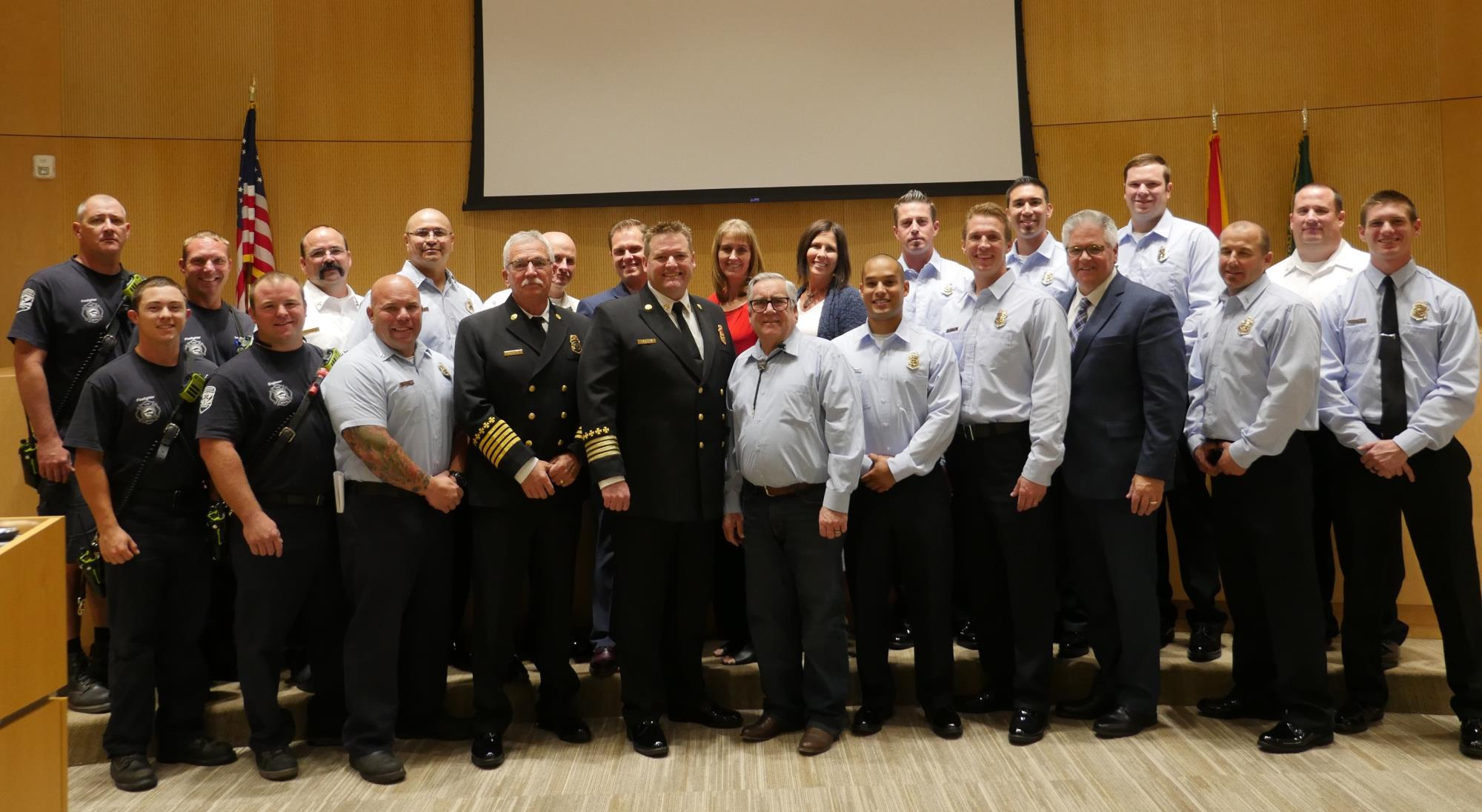 Mayor Barney and the Town Council with Chief Knight, Chief Gray, and the Queen Creek Fire Department at the June 20 Town Council Meeting.jpg