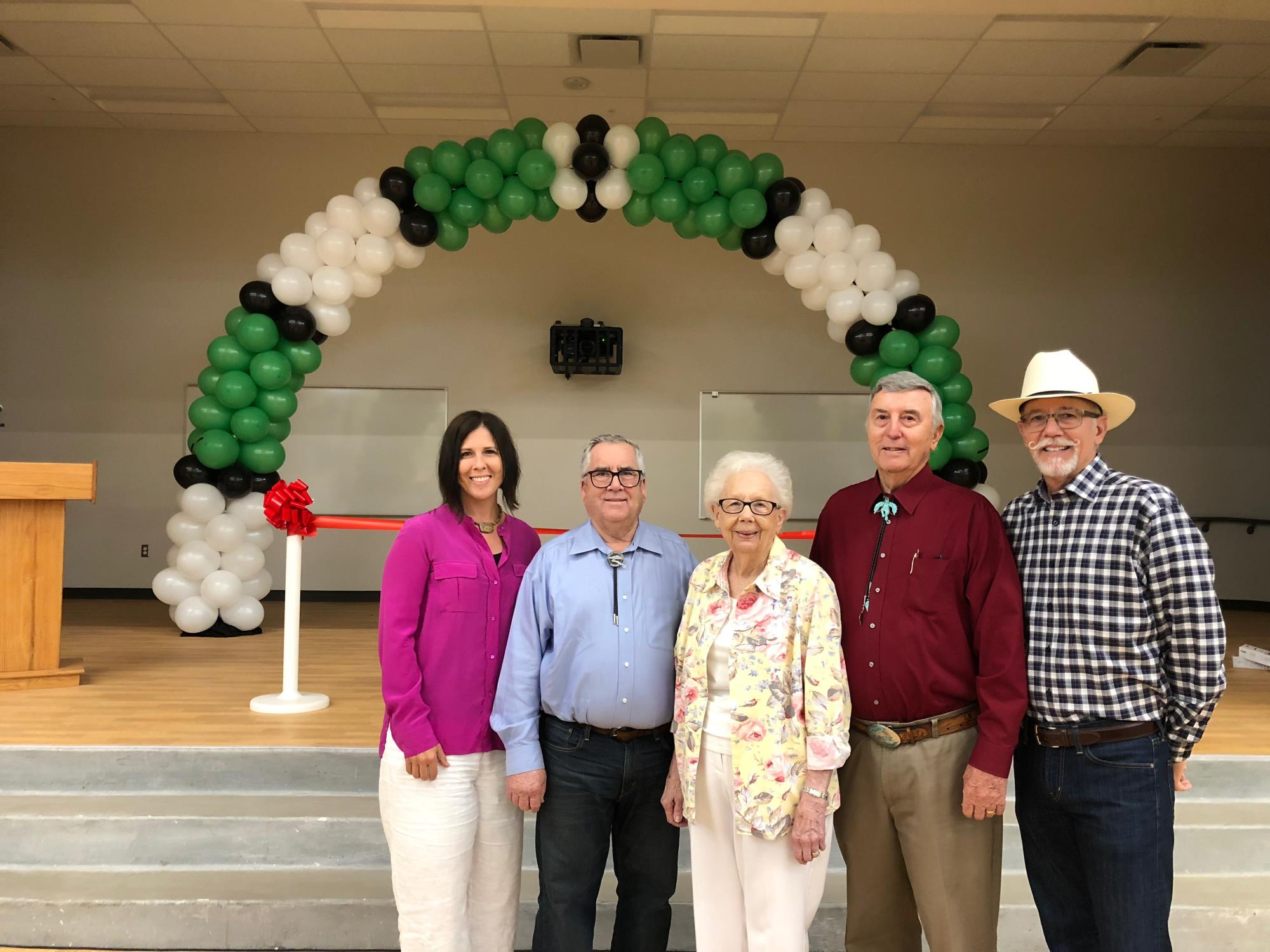 Mayor Barney and Vice Mayor Turley with Sue, Jamie, and Steve Sossaman at the Faith Mather School Ribbon Cutting on July 10