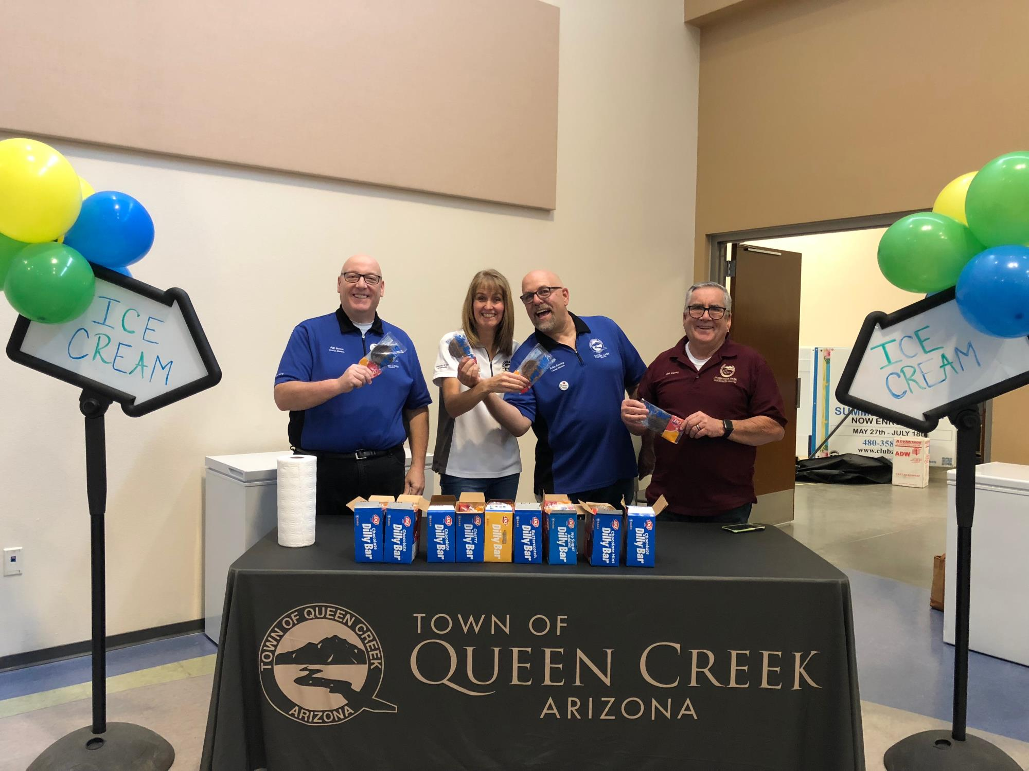 Mayor Barney and Council Members Benning, Brown, and Oliphant at the Ice Cream Social on July 21