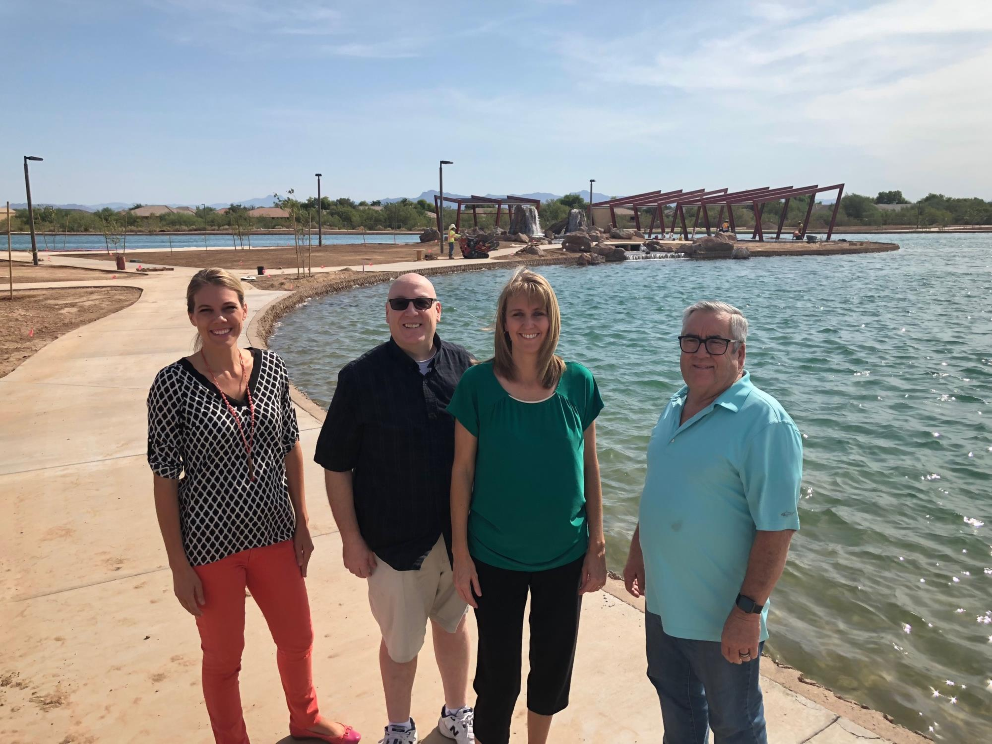 Mayor Barney and Council Members Brown, Oliphant, and Wheatley at the Infrastructure and Mansel Carter Oasis Park Tour on July 27