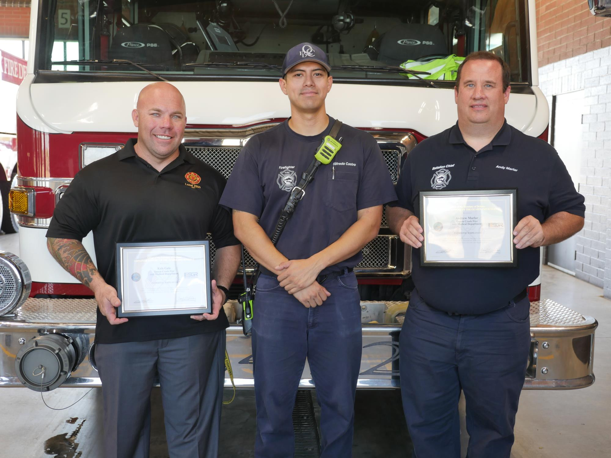 Queen Creek Fire And Medical Personnel Recognized With Patriot Award News Releases Queen Creek Az
