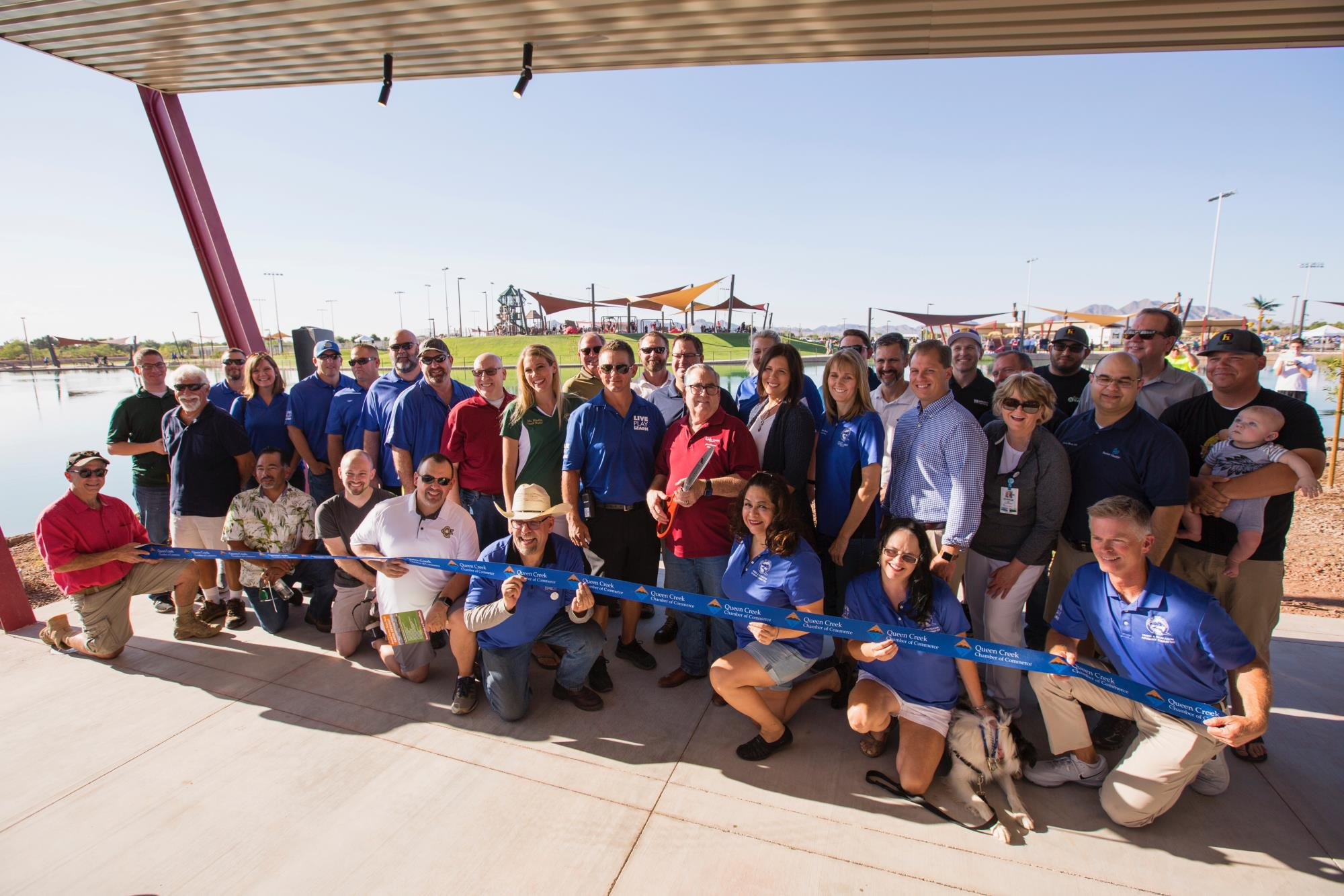 Mayor Barney and the full Town Council at the Mansel Carter Oasis Park Ribbon Cutting on September 1