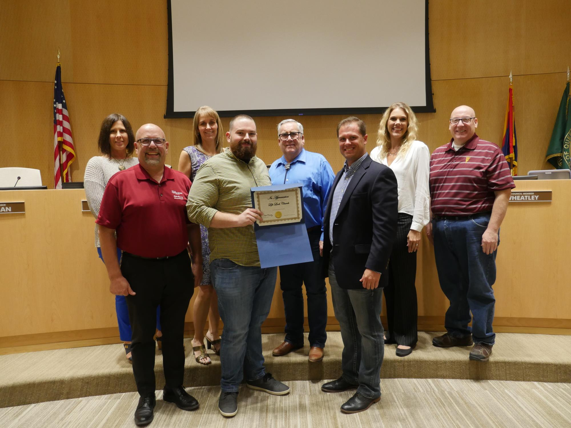 Mayor Barney and the Town Council with a representative from Life Link Church at the Town Council Meeting on September 5