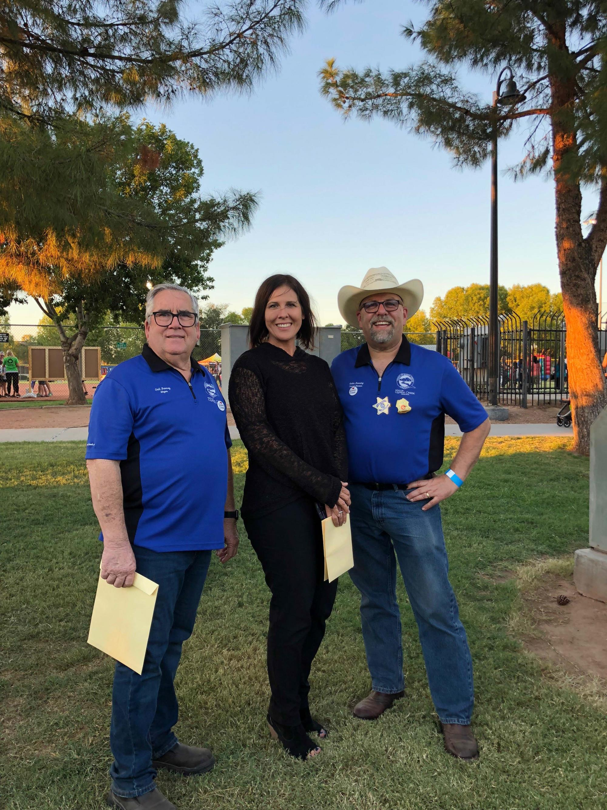 Mayor Barney with Vice Mayor Turley and Council Member Benning at Founder's Day on September 22