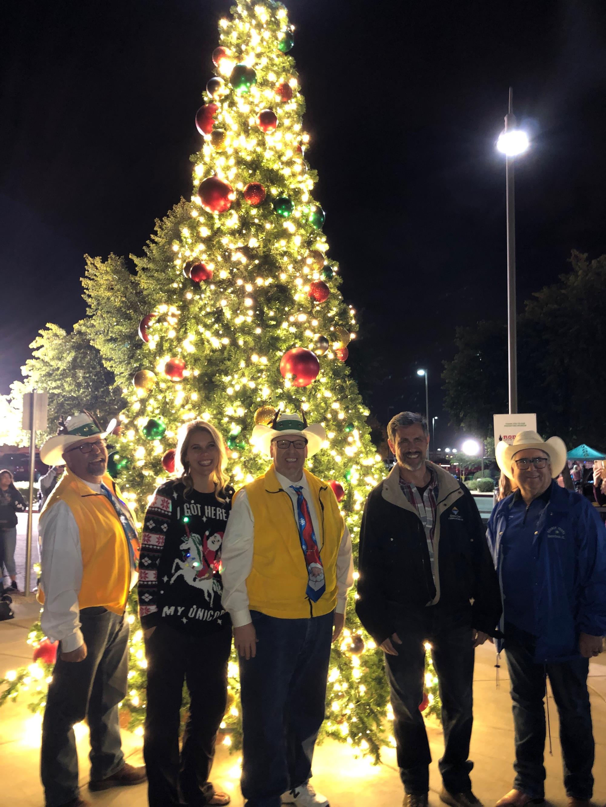 Mayor Barney with Council Members Benning, Brown, and Wheatley at the Christmas Tree Lighting Ceremony on December 1