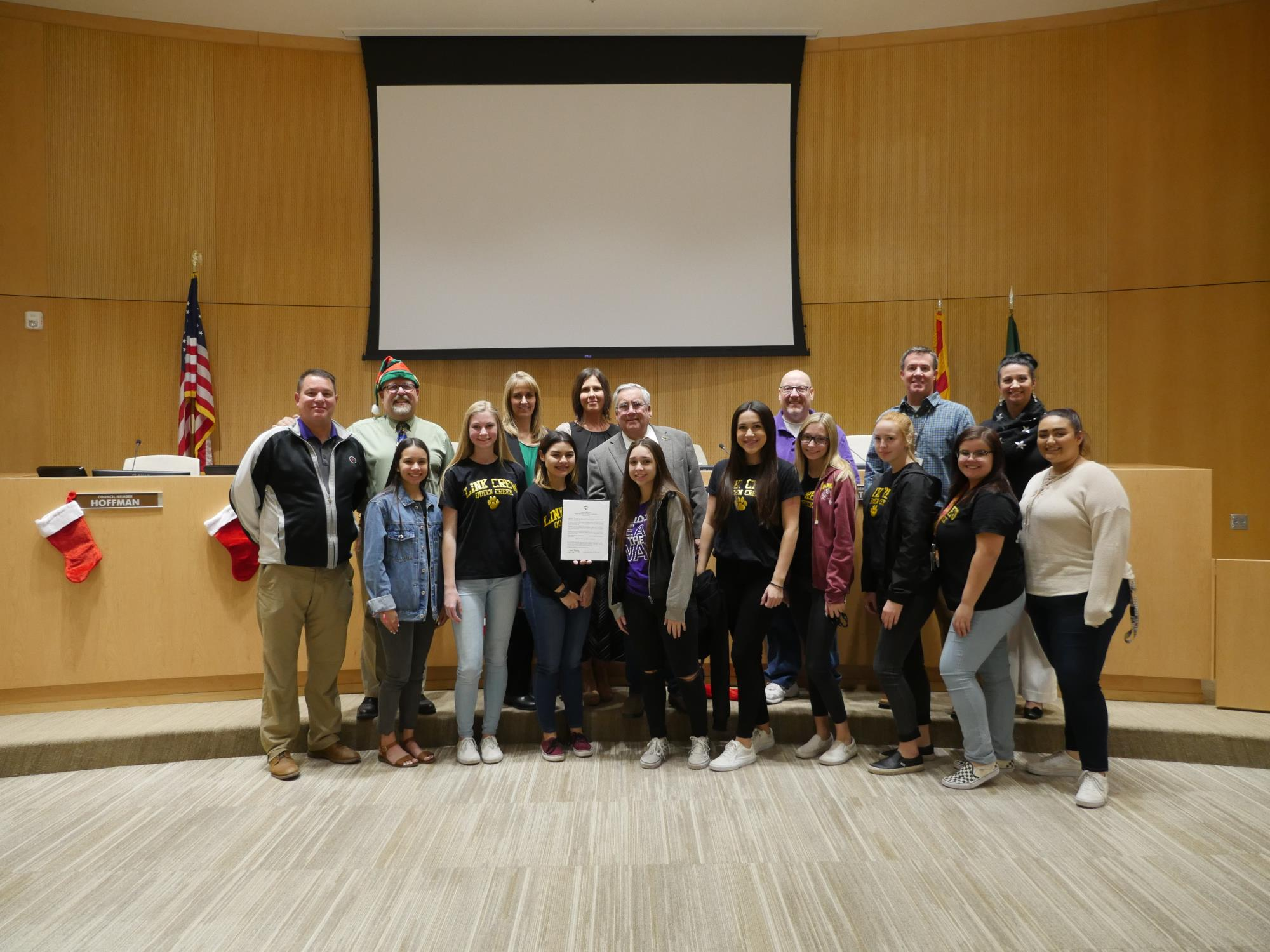 Mayor Barney and the Town Council with QCHS Teen Link Crew