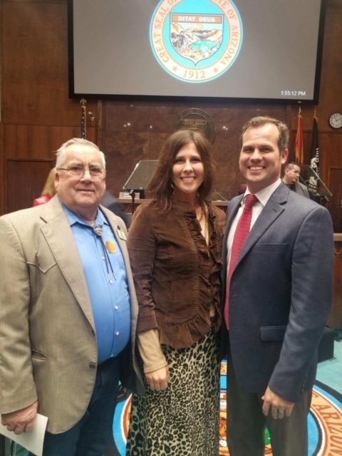 Mayor Barney and Council Member Turley with Representative Warren Peterson at the Arizona State Legislature Opening Day on January 7