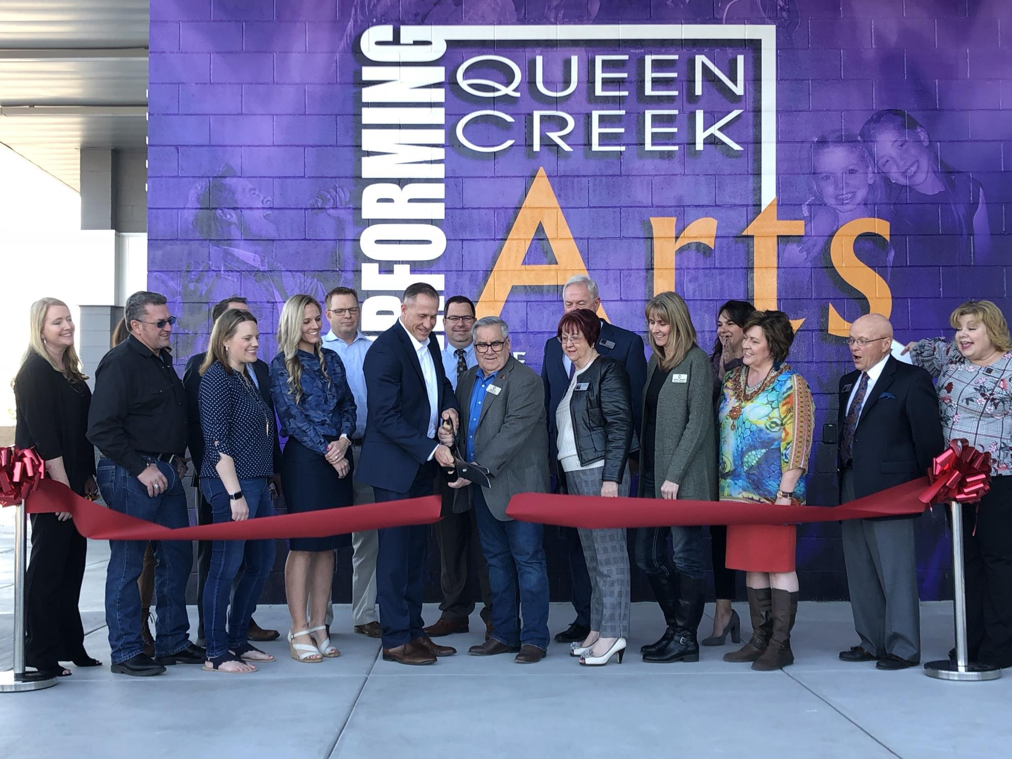 Mayor Barney and Council Member Oliphant at the Queen Creek Performing Arts Center New Lobby Addition Ribbon Cutting on January 11