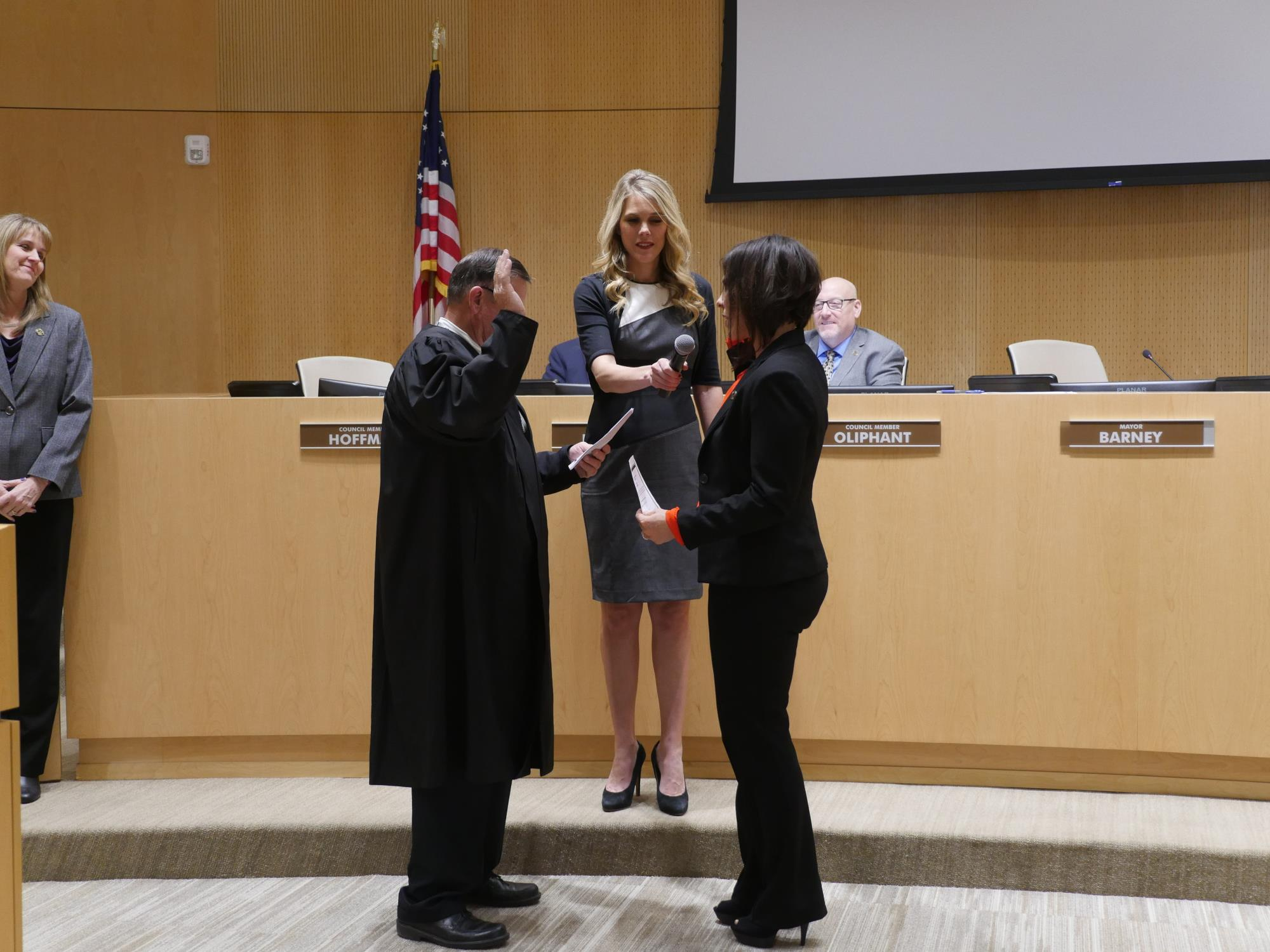 Council Member Turley being sworn into office at the January 16 Town Council Meeting - 1
