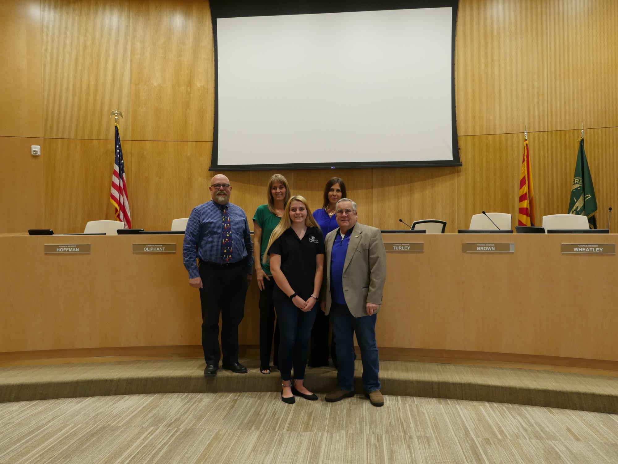 Mayor Barney and the Town Council with Camille Hartman at the April 3 Town Council Meeting