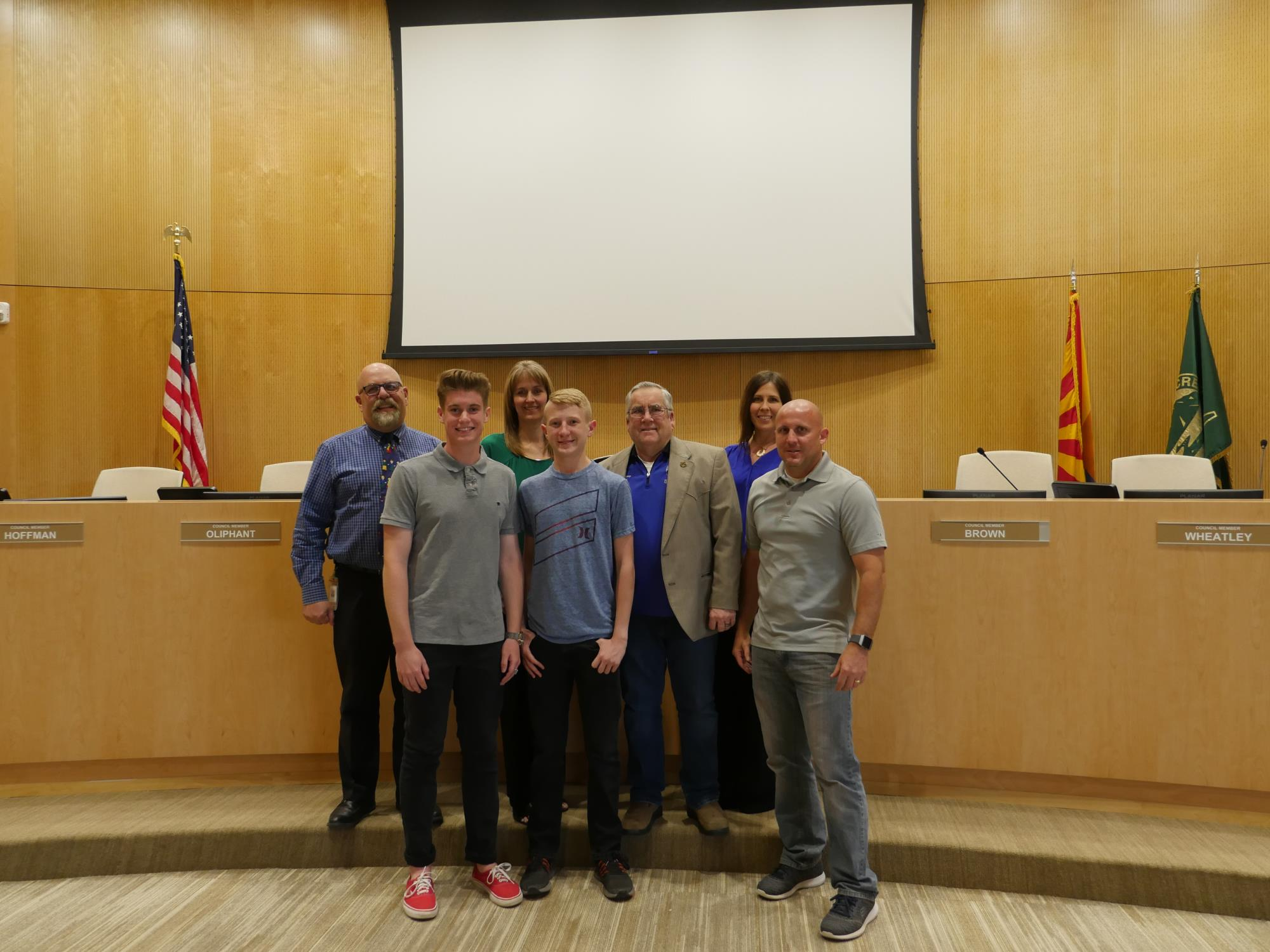Mayor Barney and the Town Council with the Heritage Academy High School Boys Cross Country Team at the April 3 Town Council Meeting