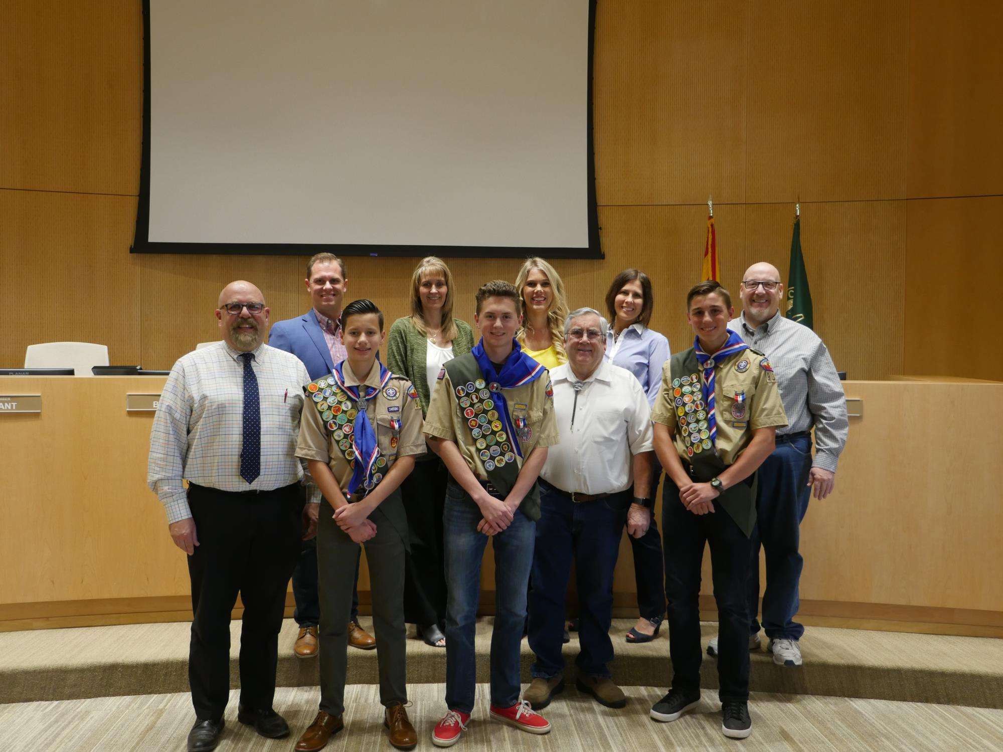 Mayor Barney and the Town Council with Eagle Scouts at the April 17 Town Council Meeting