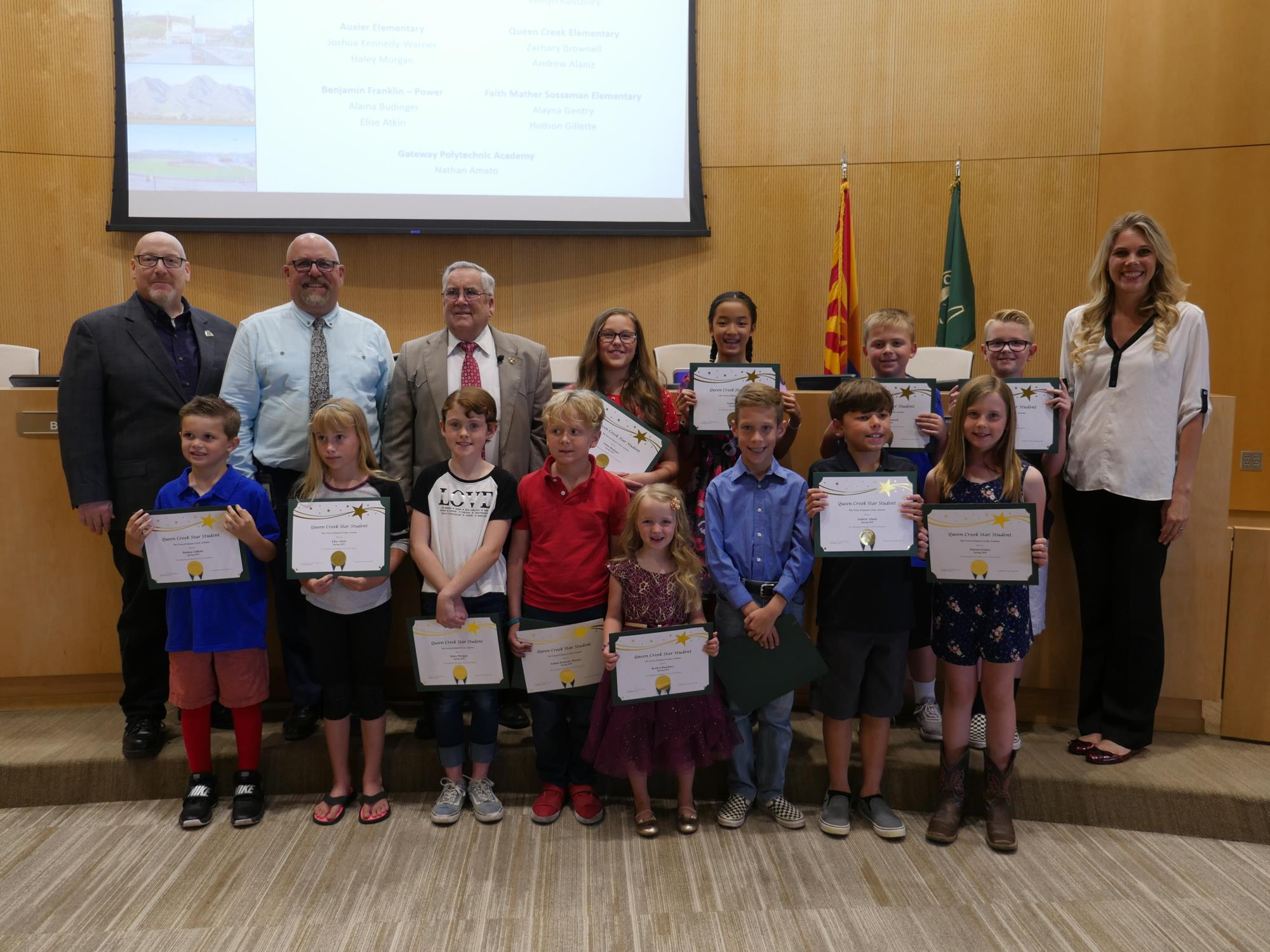 Mayor Barney, Vice Mayor Benning, and Council Members Brown and Wheatley with the Elementary Star Students on May 1