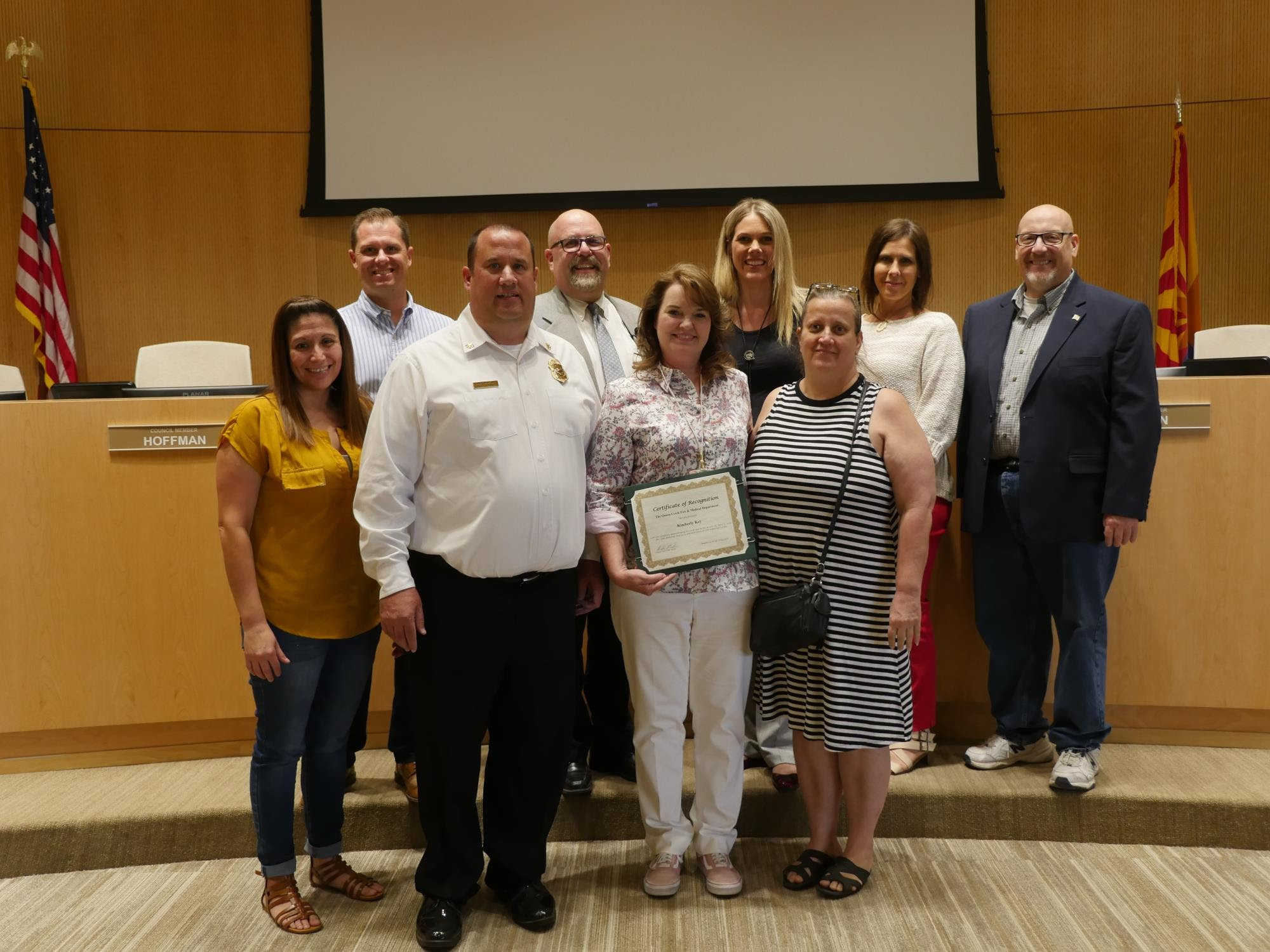 Vice Mayor Benning and the Town Council recognizing Recreation Technician Kimberly Key at the May 15 Town Council Meeting