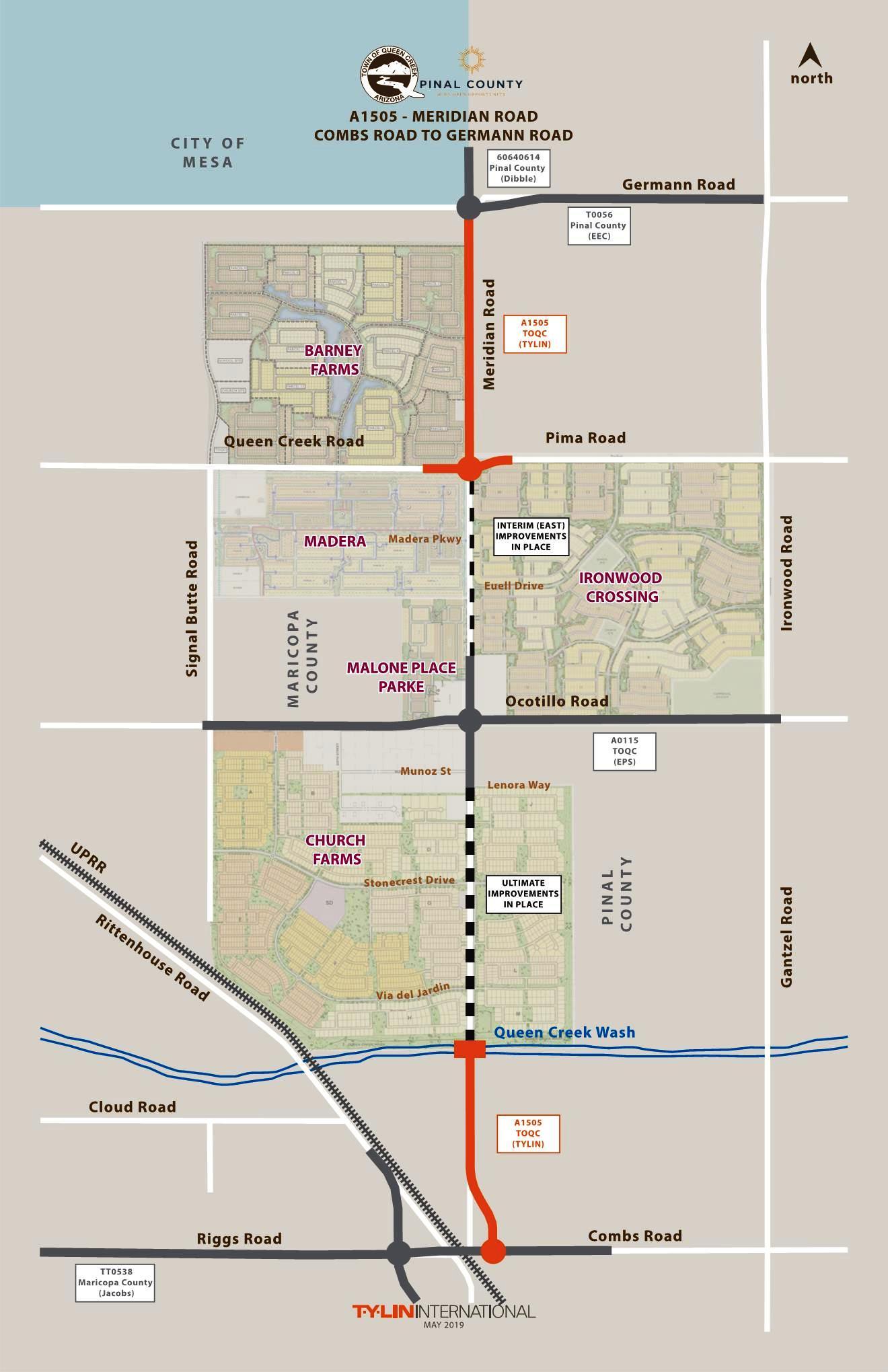 Map Of Arizona Cities Queen Creek.Meridian Road Combs To Germann Roads Queen Creek Az