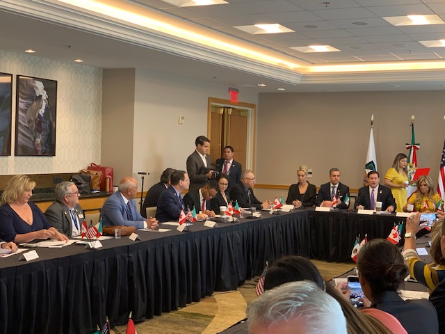 Mayor Barney meeting with Governor Ducey and Governor Pavlovich at the Arizona-Mexico Commission Summit on June 28