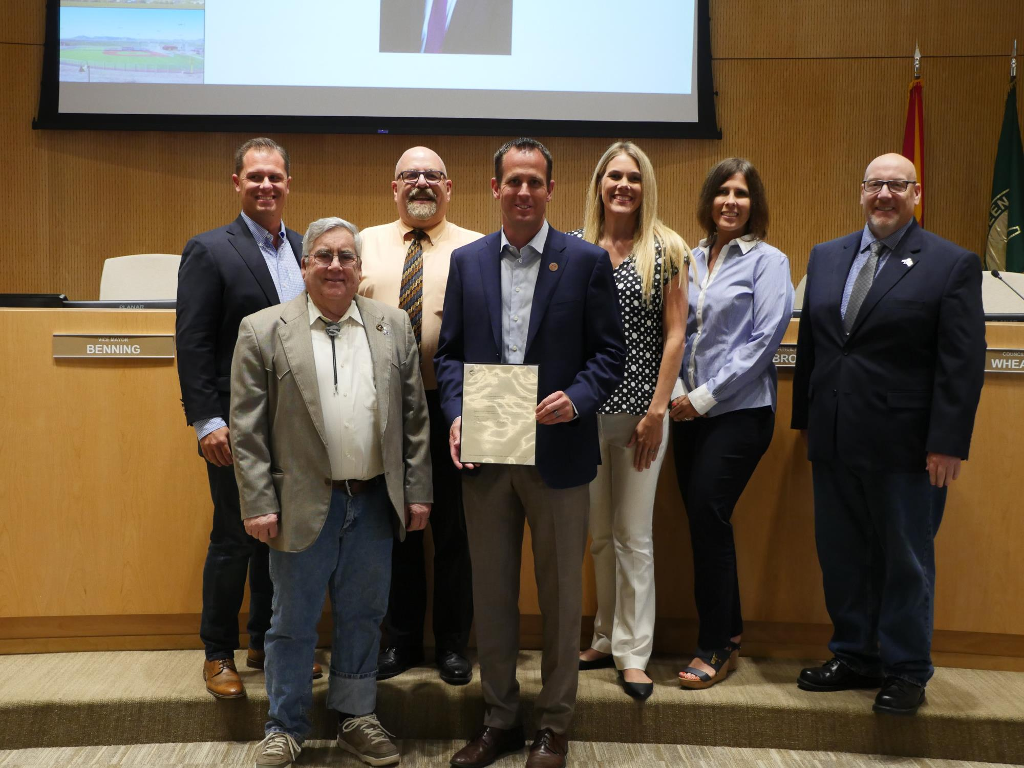 01 - Mayor Barney and the Town Council recognizing Representative Grantham at the August 7 Town Council Meeting