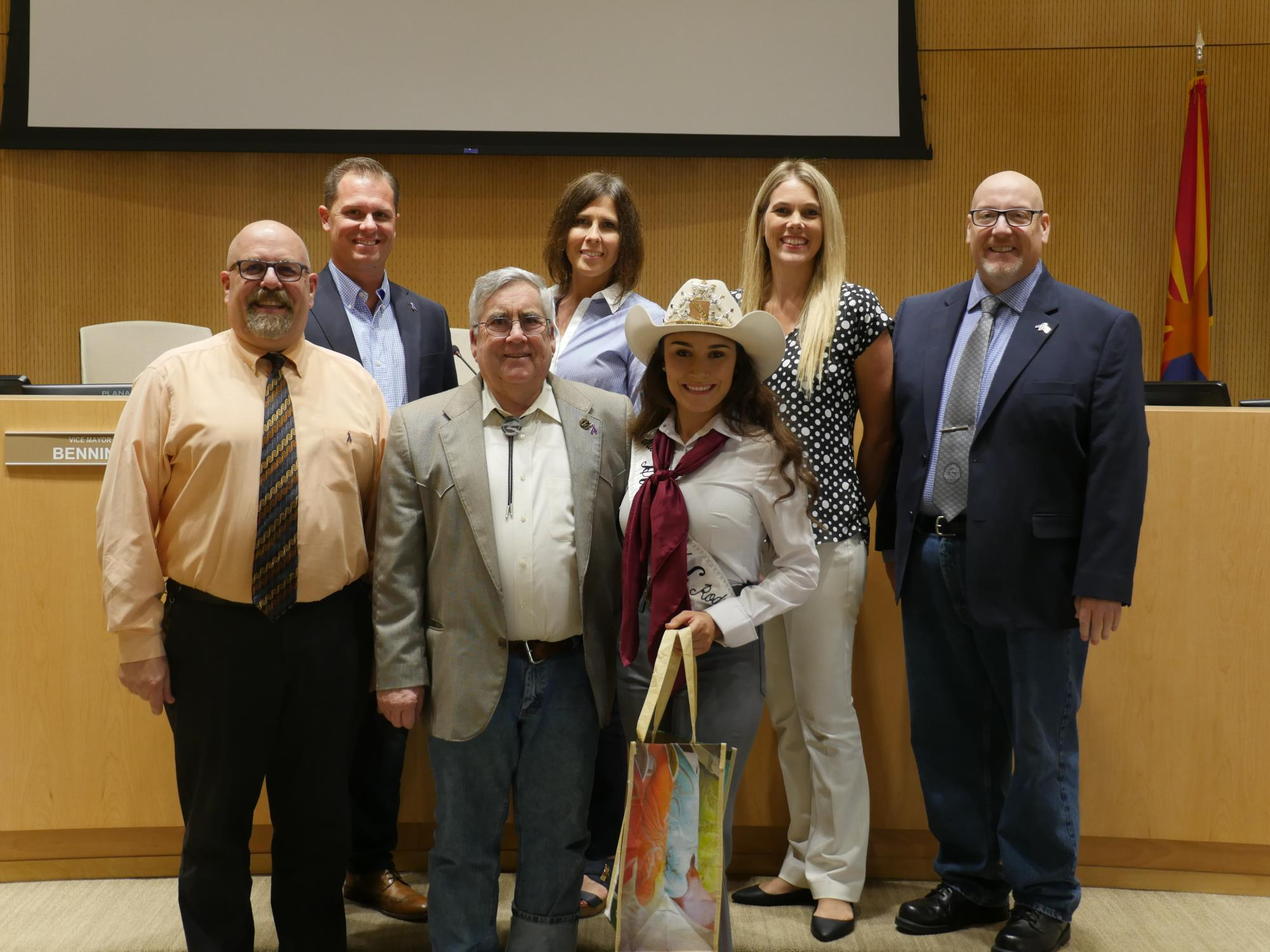 03 - Mayor Barney and the Town Council recognizing Jennie Martinez at the August 7 Twon Council Meeting